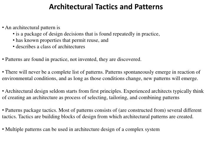 architectural tactics and patterns n.