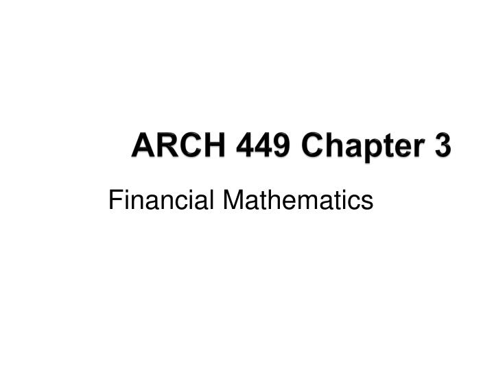 arch 449 chapter 3 n.