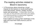 pre reading activities related to bloom s taxonomy
