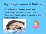 ways drugs are used as medicine
