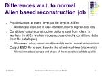 differences w r t to normal alien based reconstruction job
