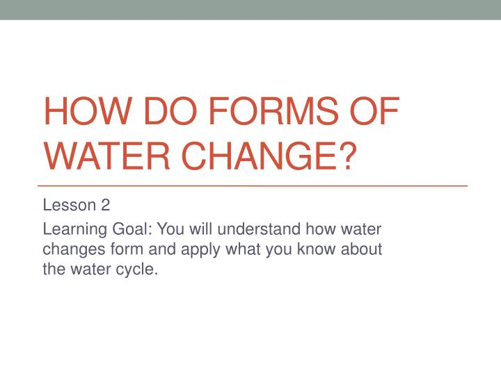 how do forms of water change n.