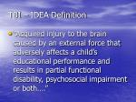 tbi idea definition