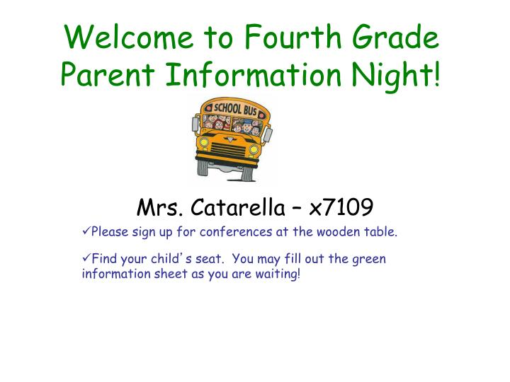 welcome to fourth grade parent information night n.