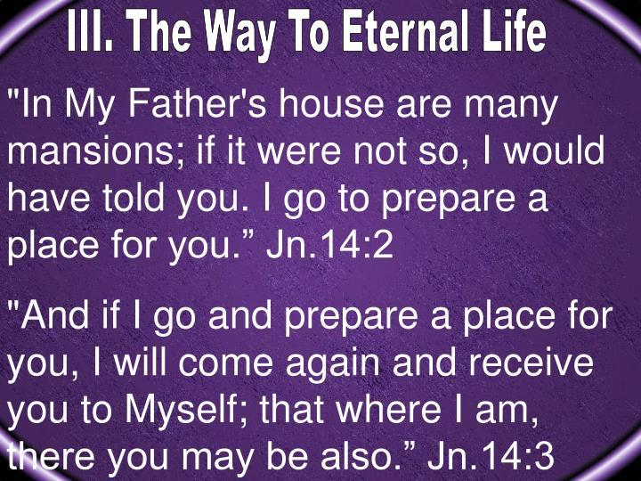 III. The Way To Eternal Life