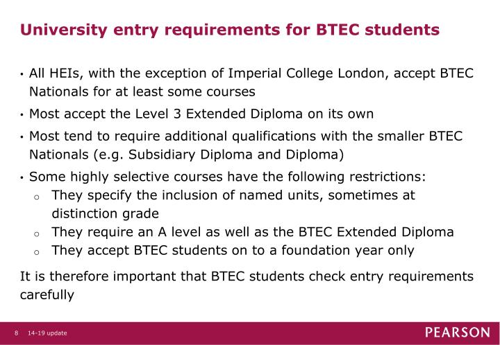 University entry requirements for BTEC students