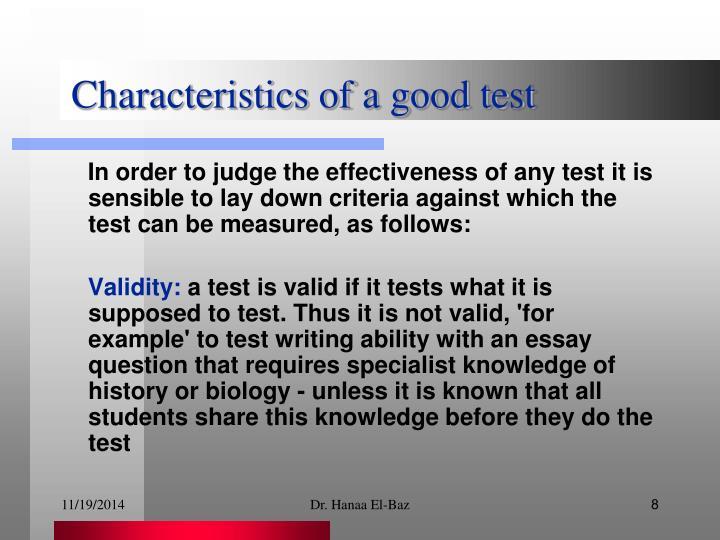 Characteristics of a good test