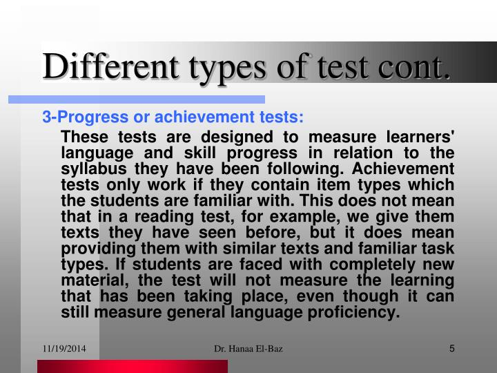 Different types of test cont.