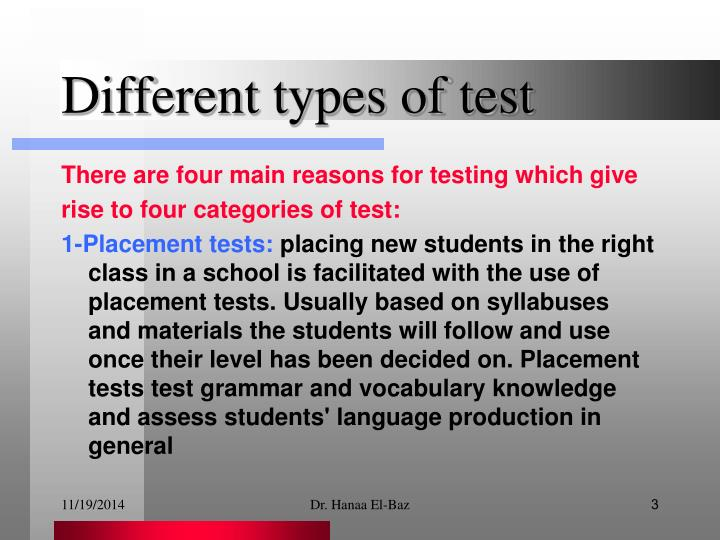 Different types of test