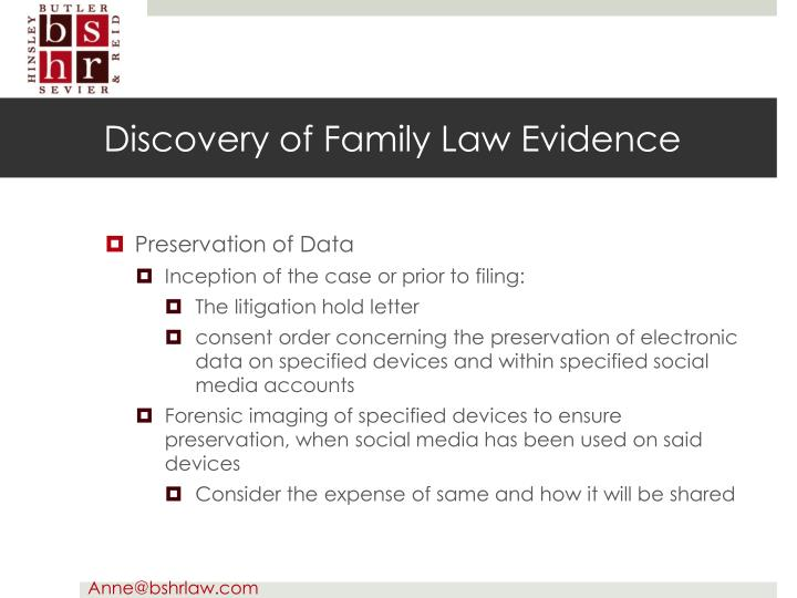 Discovery of Family Law Evidence