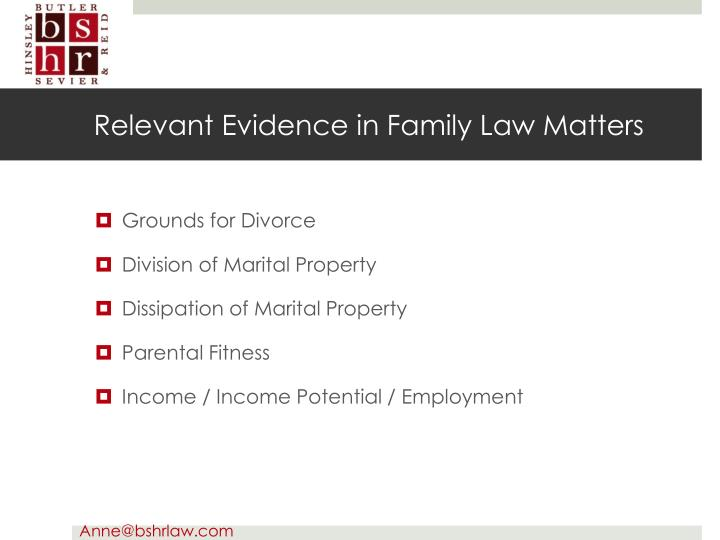 Relevant Evidence in Family Law Matters