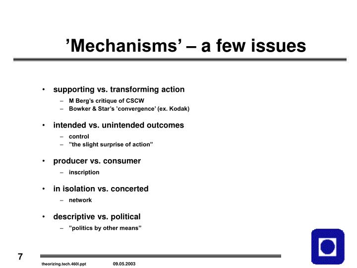 'Mechanisms' – a few issues