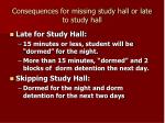 consequences for missing study hall or late to study hall