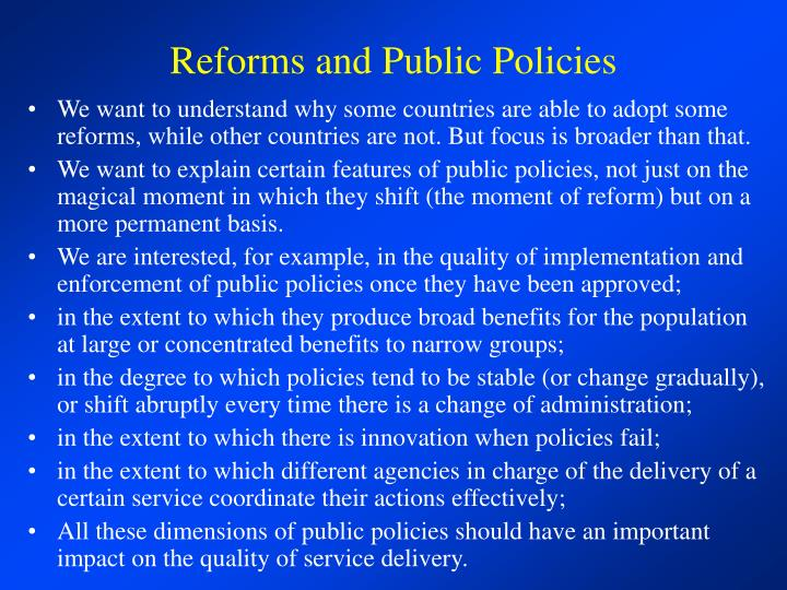 Reforms and public policies