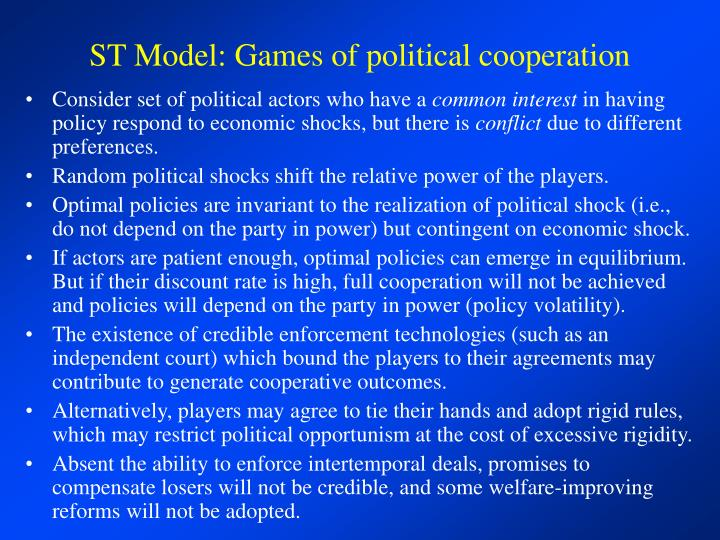 ST Model: Games of political cooperation