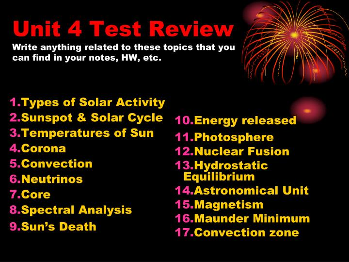 unit 4 test review write anything related to these topics that you can find in your notes hw etc n.