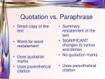 quotation vs paraphrase