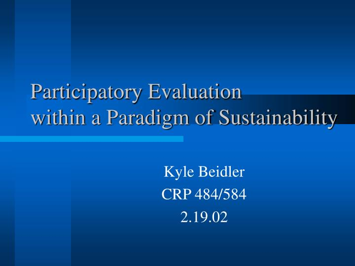 participatory evaluation within a paradigm of sustainability n.