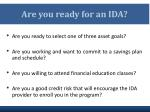 are you ready for an ida