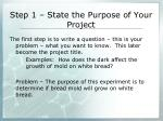step 1 state the purpose of your project