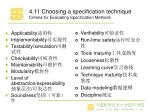 4 1 1 choosing a specification technique criteria for evaluating specification methods