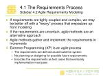 4 1 the requirements process sidebar 4 2 agile requirements modeling