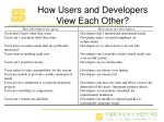 how users and developers view each other