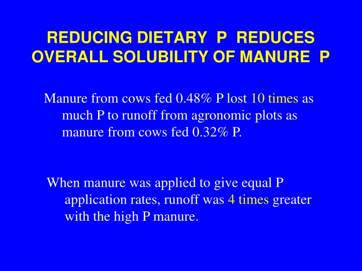 reducing dietary p reduces overall solubility of manure p n.
