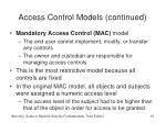 access control models continued