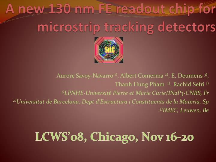 a new 130 nm fe readout chip for microstrip tracking detectors n.