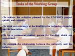 tasks of the working group