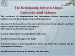 the relationship between aleppo university and i ndustry