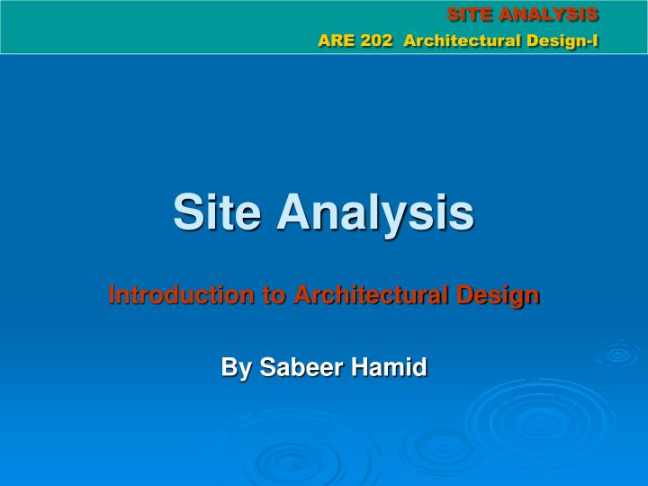 site analysis n.