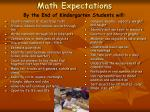 math expectations by the end of kindergarten students will