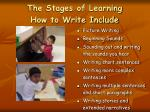 the stages of learning how to write include