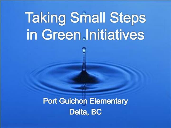 taking small steps in green initiatives n.
