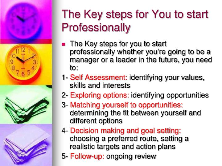 The Key steps for You to start Professionally