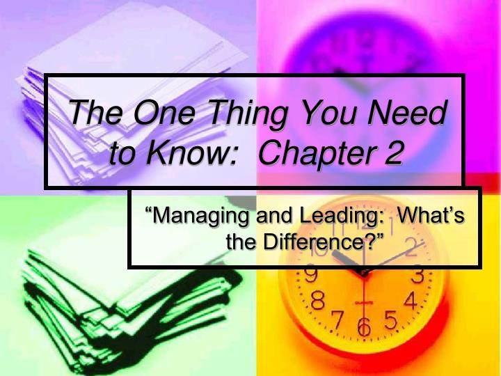 the one thing you need to know chapter 2 n.