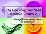the one thing you need to know chapter 2