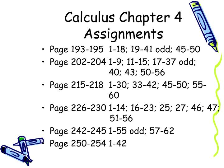 calculus chapter 4 assignments n.