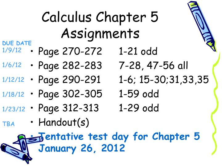 calculus chapter 5 assignments n.