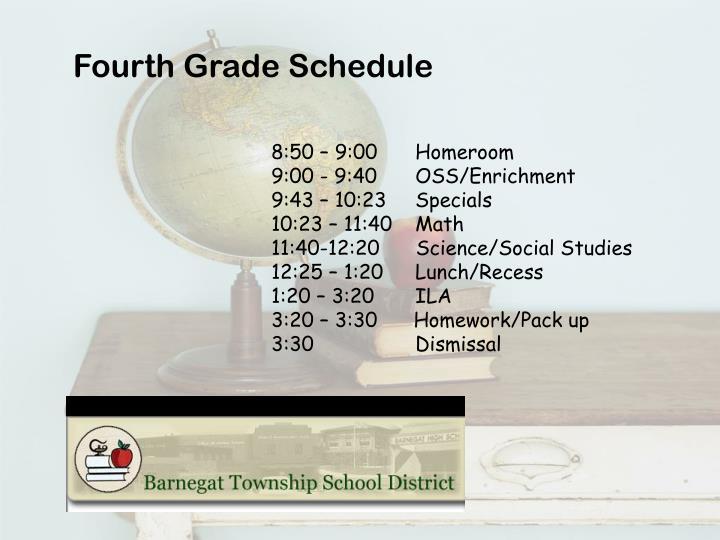 Fourth Grade Schedule