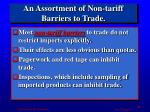 an assortment of non tariff barriers to trade