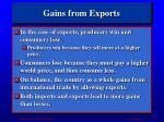 gains from exports