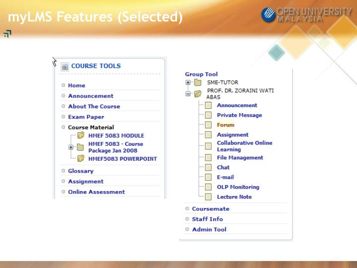 myLMS Features (Selected)