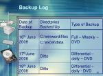 backup log