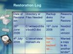 restoration log