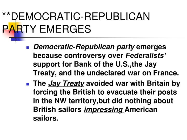 democratic republicans essay Democratic-republican party and thomas jefferson essay although the democratic - republicans were known for their strict construcitonalist values, their leaders, thomas jefferson and james madison, often ignored their beliefs to extend the federal government and create national and politcal harmony.