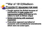 war of 1812 madison president reasons for war