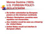 monroe doctrine 1823 u s foreign policy isolationism